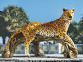 African Leopard on Branch Garden Sculpture