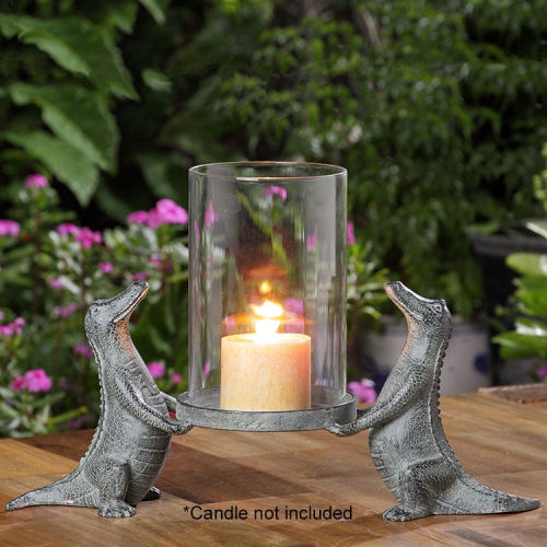 Alligator Pair Hurricane Candle Holder Sculpture