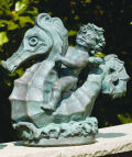 Angel Riding Seahorse Piped Garden Water Feature Sculpture