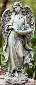Angel with Bowl Bird Feeder Sculpture