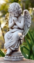 Angel Seated on Pedestal Garden Statue
