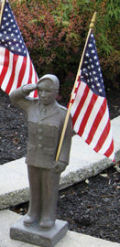 Armed Forces Army Soldier Sculpture with American Flag