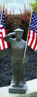 Armed Forces Navy Soldier Sculpture with American Flag