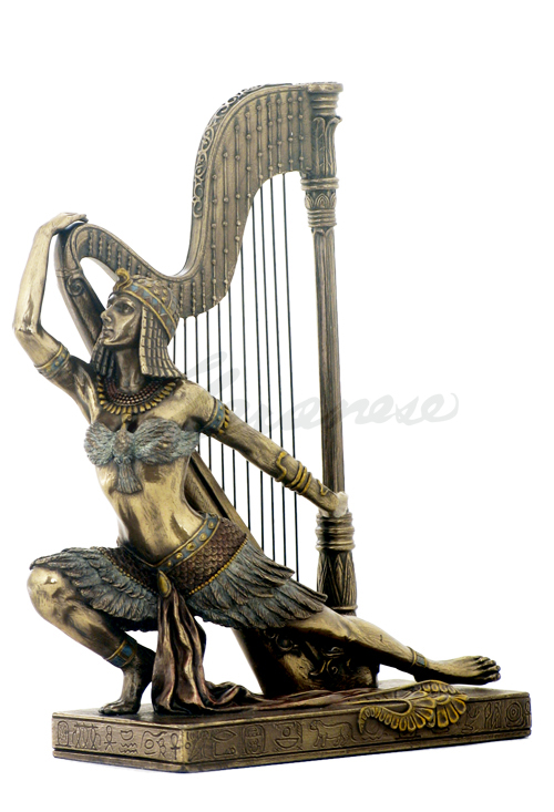 art deco egyptian dancer with grand harp statue. Black Bedroom Furniture Sets. Home Design Ideas