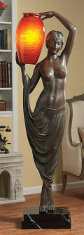 Art Deco Goddess Life-Size Sculpture Floor Lamp