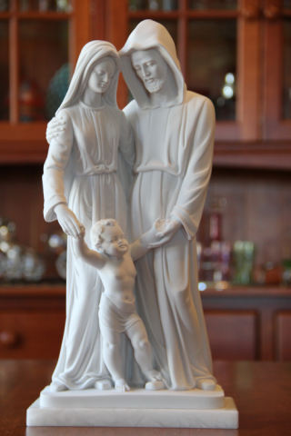 Sacred Holy Family Marble Sculpture 15.5