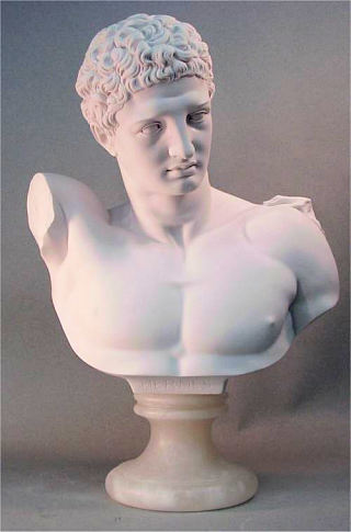 Hermes Bust Large Marble Statue 21.5