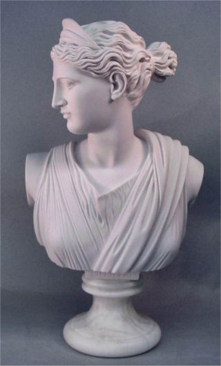 Diana Bust Marble Statue 21.5
