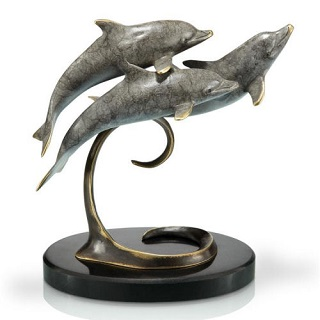 Triple Dolphins on Marble Base Brass Sculpture
