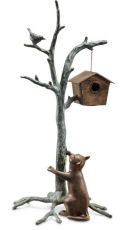 Bird house on Branch with Cat Garden Sculpture