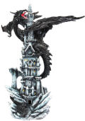 Black Dragon on Castle Sculpture