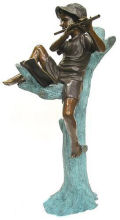 Boy Playing Flute Piped Water Feature Bronze Statue