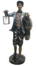 Bronze Golf Caddy with Lantern Large Sculpture
