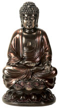 Buddha on Lotus Figurine Bronze Color