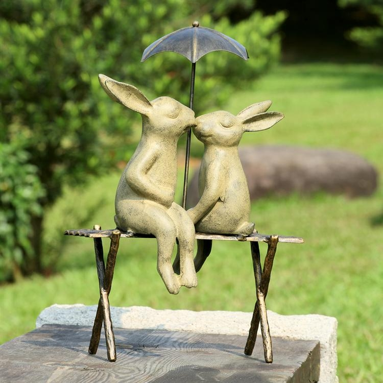 Rabbits Kissing Under Umbrella Garden Statue