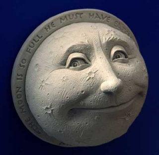 A Childs View Of The Moon Wall Plaque Statue