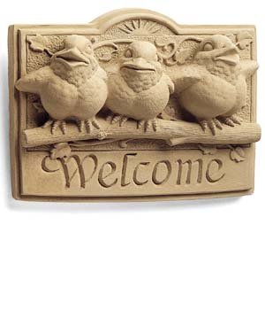 Sunshine Birds Welcome Plaque Sculpture