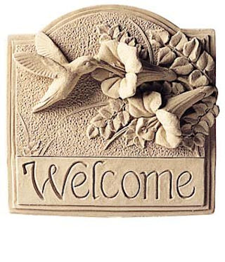 Hummingbird Welcome Plaque Sculpture
