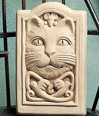 Celtic Cat Wall Plaque Sculpture
