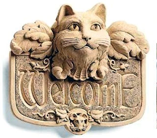 Gothic Cat Welcome Wall Plaque Sculpture