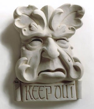 Keep Out Greenman Plaque Sculpture