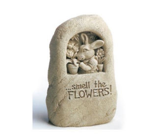 Smell The Flowers - Rabbit Sculpture