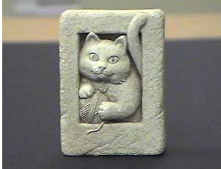 Kitty Cat Mini Stone Or Plaque Sculpture