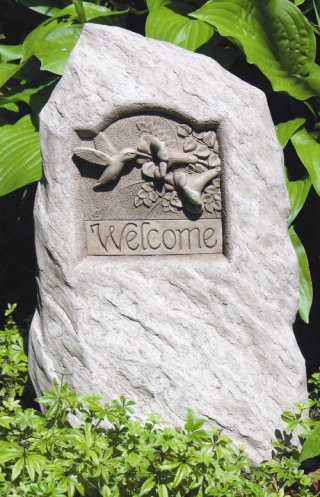 Hummingbird Welcome Stone Sculpture