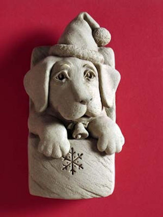 Christmas Puppy Wall Plaque Sculpture