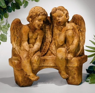 Angels Talking On Bench Sculpture
