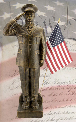 Army African-American Garden Statue