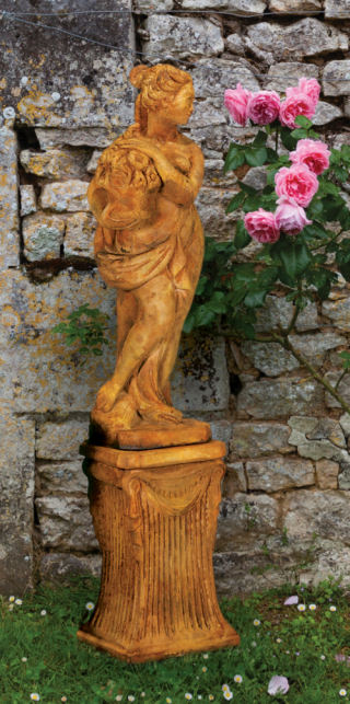 Italian Spring Season Statue on Fluted Base