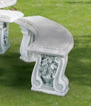 Grape Leaf Curved Garden Stone Bench