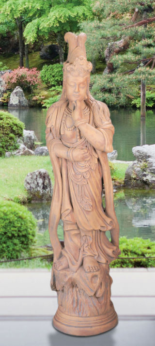 Kuan Yin Outdoor Cast Stone Garden Sculpture