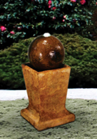 Sphere On Low Pedestal Garden Fountain
