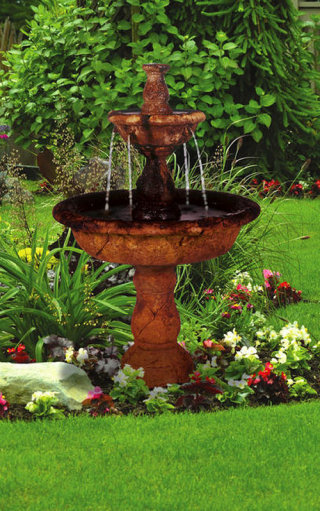 Tazza Two Tiered Cement Garden Fountain