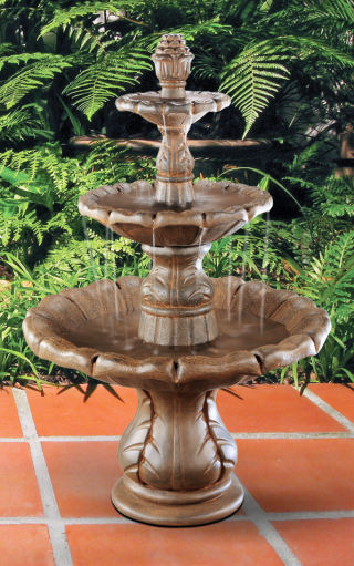 Classical Three Tiered Finial Fountain