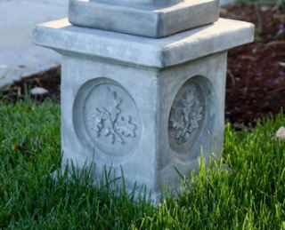Leaf Motif Pedestal Cast Stone Base for Statuary Display