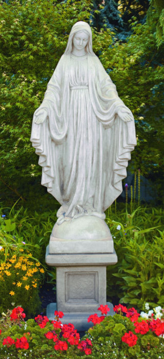 Blessed Mother Mary Statue Life-Size on Pedestal