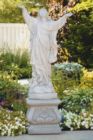 Assumption Of Mary Life-size Sculpture On Pedestal