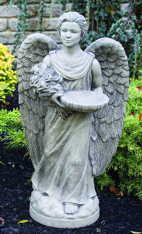 Rosebud Angel With Feeder Statue 28