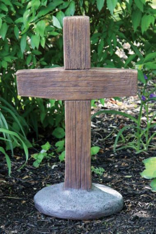Cross Wood Grained Garden Stone Statue