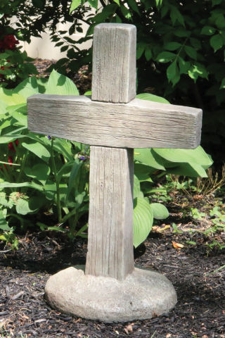 Cross Wood Grained Garden Cement Statue