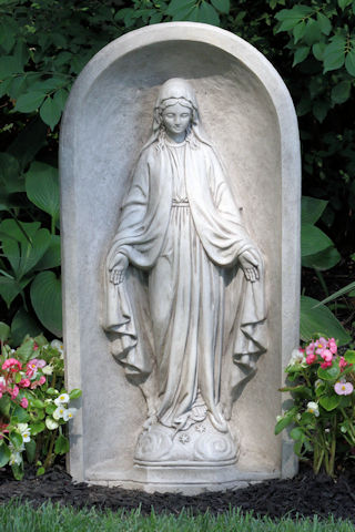 Blessed Mother Mary in Grotto Sculpture