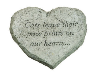 Heart Stone Cat Leave Their Paw Prints Memorial