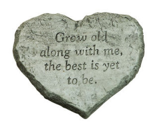 Heart Shaped Accent Stone Grow Old Statue