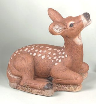 Fawn Laydown Head Up Statue