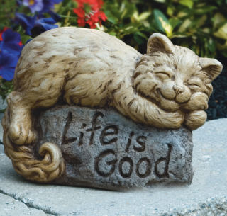 Life Is Good Louie Cat Garden Statue