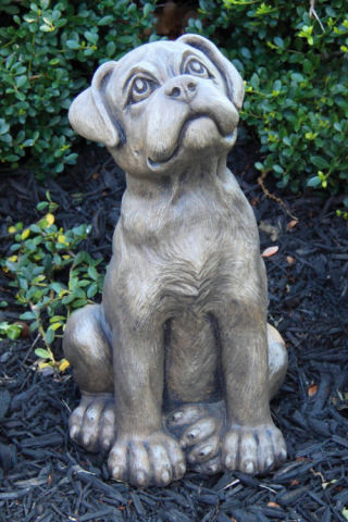 Boxer Puppy Dog Cement Sculpture