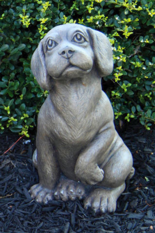 Beagle Puppy Dog Cement Sculpture